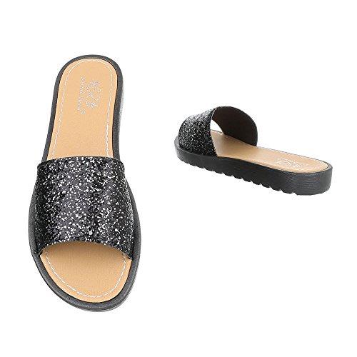 Ital-Design Pantoletten Damenschuhe Jazz & Modern Leichte Sandalen/Sandaletten Schwarz