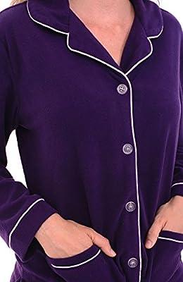 Del Rossa Women's Fleece Pajamas, Long Button Down Pj Set
