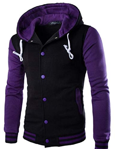Energy Jacket Military Coat Up Jacket Button Color Men's Purple Contrast Hoodie Leisure qrxtCOrwZI