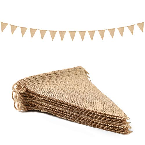 26 Pcs Triangle Burlap Banner Christmas DIY Jute Pennant Flags Rustic Bunting Kit Party Decoration Happy Birthdays Outdoor Photo Prop Baby Shower ()