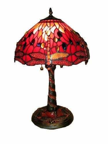 Warehouse of Tiffany's T14288TGRA Dragonfly Lamp w/Mosaic Base, 14'' x 14'' x 20'', red by Warehouse of Tiffany's