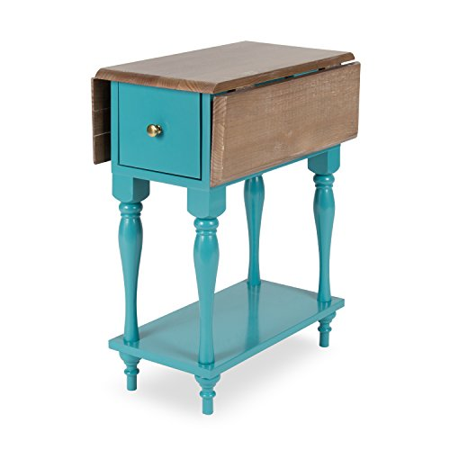 Kate and Laurel Sophia Rustic Wood Top Drop Leaf End Table with 2 Drawers and a Shelf, Teal
