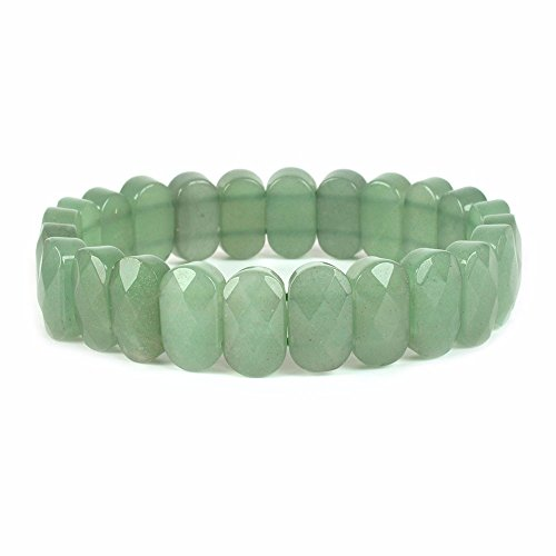 Natural Green Aventurine Gemstone Faceted 14mm Oval Beads Stretch Bracelet 7