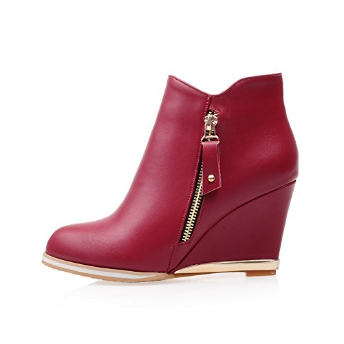 Aiweiyi Donne Zip Incunea Caviglia Inverno Tallone Neve Punta Posteriore Rosso Tonda Boots 4rd4qfw