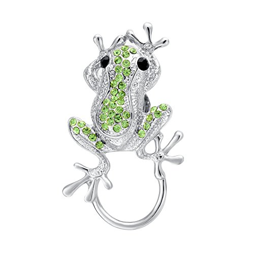 (BEICHUANG Green Crystal Smart Jumping Frog Eyeglass Sunglass Holder Strong Magnetic Animal Brooch Pin (silver))