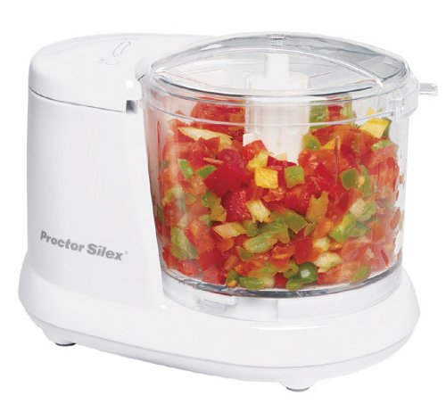 Proctor Silex Durable Mini 1.5 Cup Food Processor & Vegetable Chopper for Dicing, Mincing & Puree, White (72500RY)