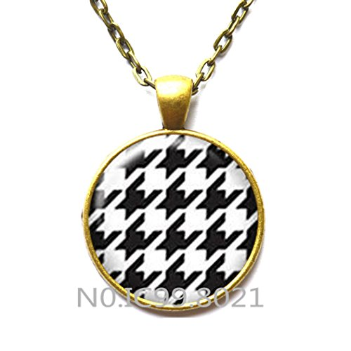 Houndstooth Necklace , Girlfriend Gift, Houndstooth Pendant, Everyday Jewelry,Houndstooth Jewelry, Pattern Necklace , Classic -
