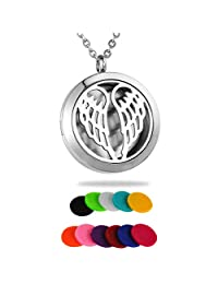 HooAMI Aromatherapy Essential Oil Diffuser Necklace - Stainless Steel Angel Wing Round Locket Pendant