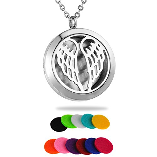HooAMI Aromatherapy Essential Oil Diffuser Necklace - Stainless Steel Angel Wing Silver Locket Pendant