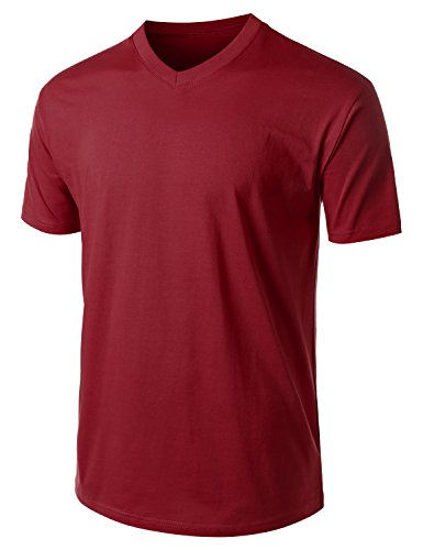 URBANCREWS Mens Hipster Hip Hop Classic Jersey V-Neck T-shirt- BURGUNDY SMALL