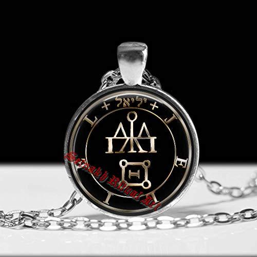 (Love, Sex & Wisdom Talisman, Jeliel Angel Seal Pendant, Amulet Against Enemies, Angelic Necklace)