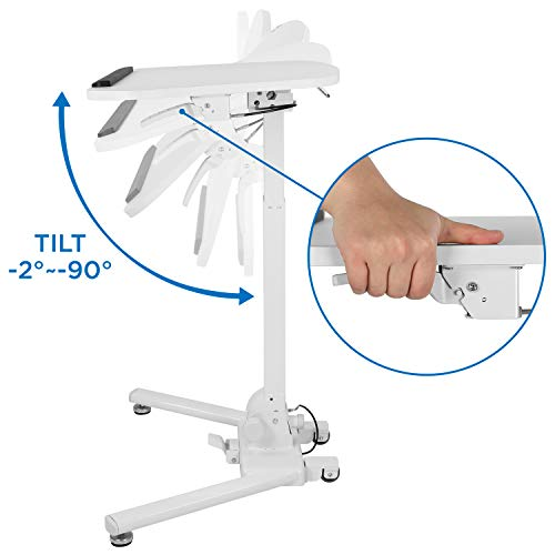 Mount-It! Standing Folding Laptop Cart, Sit Stand Mobile Desk with Height Adjustable 31.1'' x 20.5'' Platform, Supports up to 17.6 lbs, White (MI-7949) by Mount-It! (Image #6)