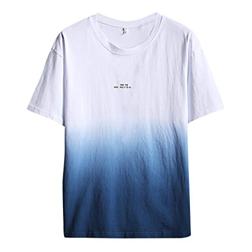 Mens Linen Shirts Beach Tronet Summer Fashion Men's Cool and Thin Breathable Collar Hanging Dyed Gradient Cotton Shirt