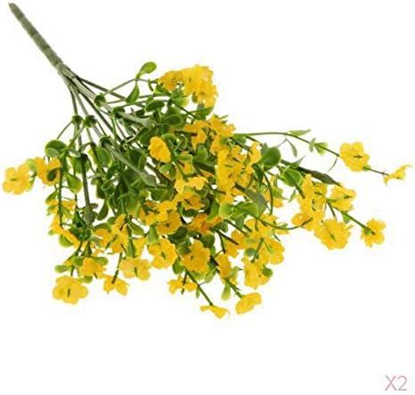 カスミソウ 人工花 シルク花 装飾 結婚式 展示会 屋内植物 家 - イエロー