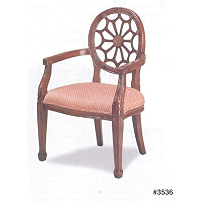 Designer Style Italian Provincial Dark Oak Wood Finish Spider Back Arm  Accent Chair With Light Red