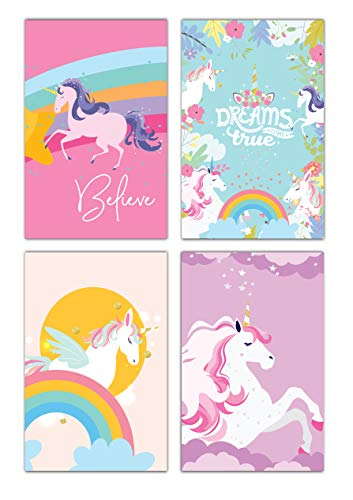 Unicorn Rainbow Bedroom Wall Art Decor | (UNFRAMED) Colorful Inspirational & Motivational Quotes For Girls & Teens | Decorative & Easy to Frame Printed Picture 11x17-inch | Set of 4 Posters