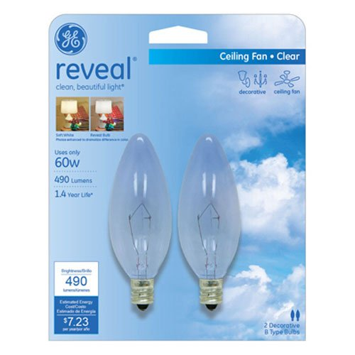 60w Ge Lighting (GE Lighting 48714 60-Watt Reveal Blunt Tip B10 2-Pack)