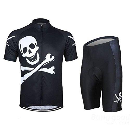 Arsuexo mark8shop Herren Radtrikot Anzug Hemd und Shorts Riding Trikots Fahrrad Kleidung Totenkopf