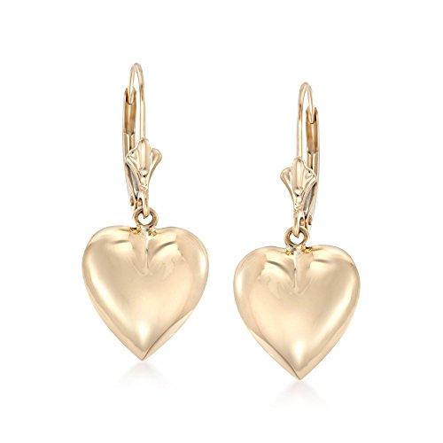 Ross-Simons 14kt Yellow Gold Puffed Heart Drop Earrings