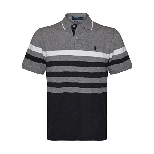 Polo Ralph Lauren Mens Classic-Fit Mesh Short Sleeve Polo (XX-Large, Grey Multi)