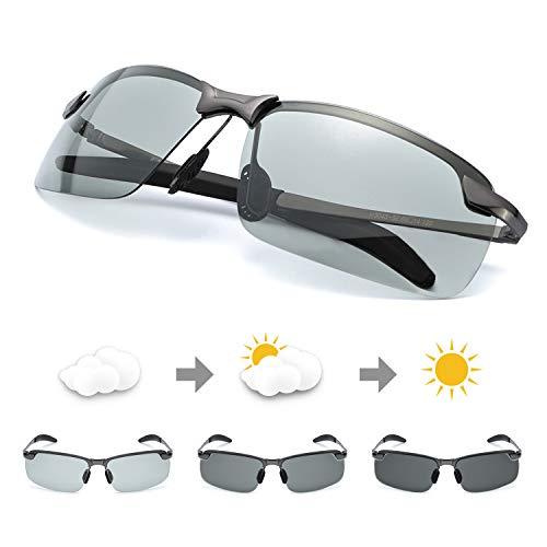 5da27df0e82 TJUTR Men s Photochromic Sunglasses with Polarized Lens for Outdoor 100% UV  Protection