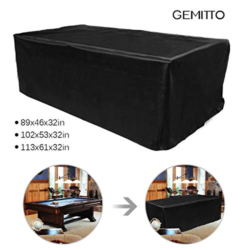 GEMITTO 7/8/9 ft Pool Table Cover, Waterproof Billiard Cover Polyester Fabric for Snooker Billiard Table (89x46x32in) (Best Pool Table Cover)