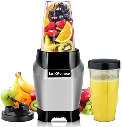 La Reveuse Countertop Blender – Making Shakes and Smoothies 600 Watts-with 20 oz and 24 oz BPA Free Portable Travel Bottles – Dishwasher Safe