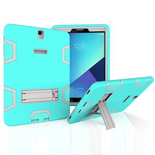 10.1 with S pen Case, Beimu 3in1 Combo Hybrid Heavy Armor Full-body Holster Rugged Defender Protective Kickstand Case for Samsung Tab A 10.1 with S Pen SM-P580/P585 (Aqua+grey) ()