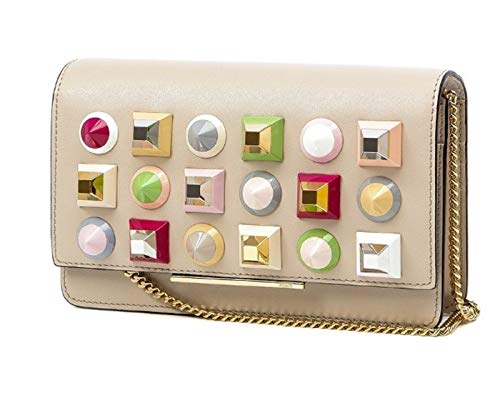 Fendi Mini Bag Calf Leather Cream White with Multicolor Studs 8M0346