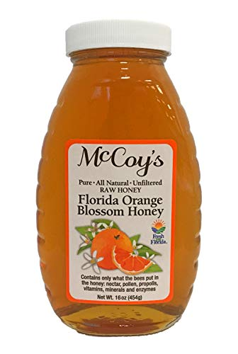 Raw Honey - Pure All Natural Unfiltered & Unpasteurized - McCoy's Honey Florida Orange Blossom Honey Jar 16oz (Raw Honey Orange Blossom)