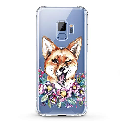Lex Altern Samsung Galaxy TPU Case J7 MAX Core J6 Plus J4 J3 J2 Prime New Cute Funny Fox Clear Silicone Animal Floral Cover Flower Print Protective Lightweight Wink Girls Women Soft Transparent Trend ()