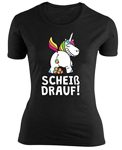 Close Up Einhorn Girlie-Shirt Scheiß drauf!, in Größe S, M, L, Damen Shirt Schwarz mit Frontprint