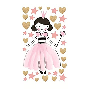AIYANG Girls Wall Decals Love Hearts Stars Wall Stickers Reflective Wall Stickers for Baby Nursery Bedroom Bedside Decoration Magical Fairy