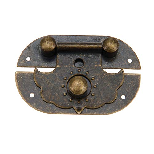 (Box Latch Clasps with 4 Nails Oval Shape Cabinet Hasp for Jewelry Wooden Box Case Decorative Hasp Latch Buckle, 47 x 29mm)