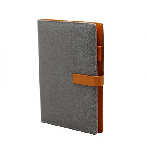 WCR Writing Journal Notebook, Soft Cover PU Leather Executive Personal Organiser with Card Pockets, Pen Loop and Magnetic Clip, Ruled Loose-Leaf Diary for Men and Women, 160 Pages (Light Grey, A5) by WCR