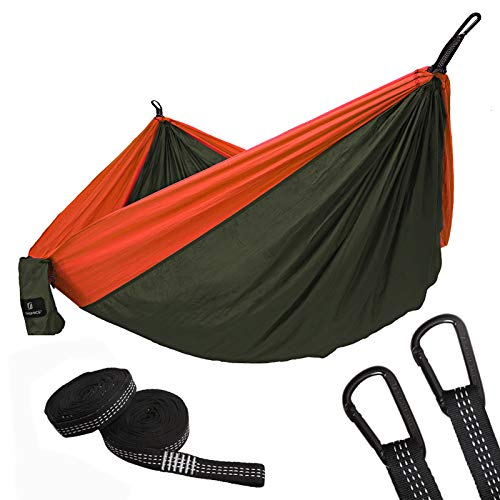 SONGMICS Ultra-Lightweight Portable Hammock Hold up to 660LB Single Double Parachute Nylon Camping Hammock Swing Bed 118