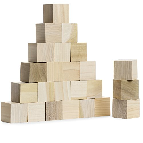 Wood Blocks 1.5 Inches (32 Pack) Made in USA - Unfinished Wooden Blocks for Crafts and Carving, Plain Blank Natural Wood -