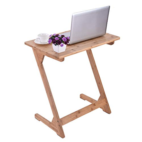 shamoluotuo Bamboo Sofa Side End Table, Z Shaped Table Laptop Holder End Stand Desk Coffee Tray Side Table Home Office Notebook Tablet Beside Bed Sofa Portable Workstation (23.6