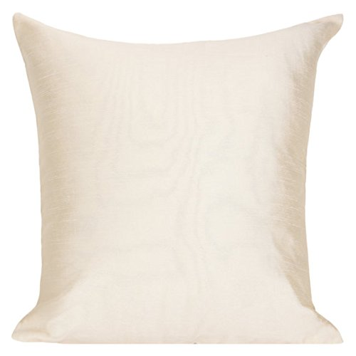 The White Petals Set of 2 Cream Sham Covers, Plain Silk Sham Cover, Solid Decorative Sham, Accent Sham, Cream Euro Sham Cover, (26x26 inches, Cream)