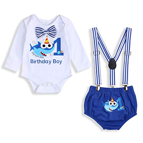 Baby Birthday Shark Outfits Infant Boys Girls Long Sleeve Bowtie Romper Suspender Bottom Shorts Cake Smash Clothes(Blue L - A, 9-15 Months