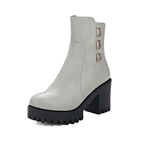 Heels Toe Gray Chains Material Boots Low Soft High Women's Allhqfashion Closed top Round 0qAOWv