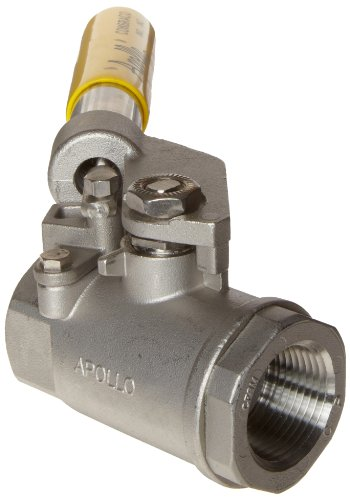 Apollo 76-500 Series Stainless Steel Ball Valve, Two Piece, Inline, Spring Return Lever, 1