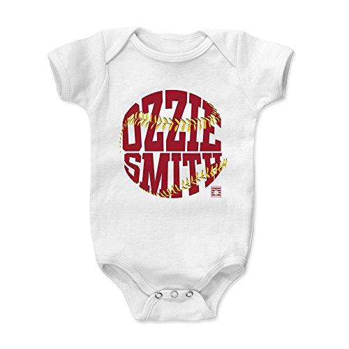 (500 LEVEL Ozzie Smith Baby Clothes, Onesie, Creeper, Bodysuit 3-6 Months White - Vintage St. Louis Baseball Baby Clothes - Ozzie Smith Threads R)