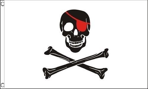 ALBATROS 3 ft x 5 ft Pirate Black and White (Blood Red Patch) Flag 5in x 3in House Banner for Home and Parades, Official Party, All Weather Indoors Outdoors ()