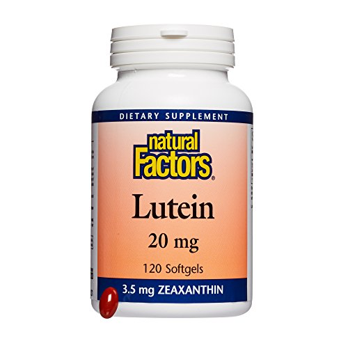- Natural Factors, Lutein 20 mg, Antioxidant Support for Healthy Eyes and Skin with Zeaxanthin, 120 softgels (120 servings)