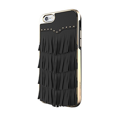 Rebecca Minkoff iPhone 7 Case, Luxe Double Up Designer Phone Case [Protective] fits Apple iPhone 7 - Black Leather Fringe