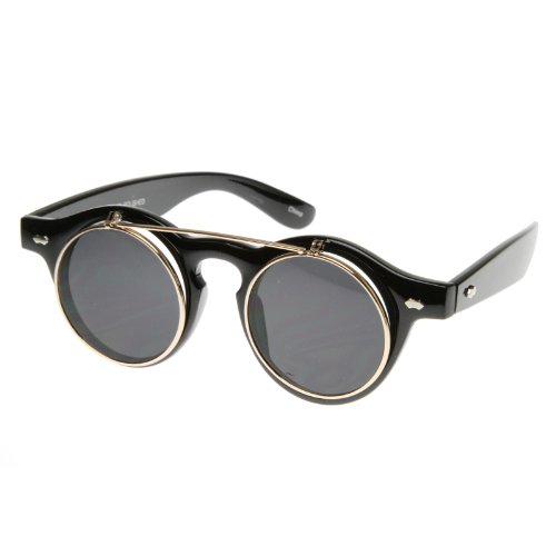 Old-School Small Retro Steampunk Circle Flip Up Lens Glasses