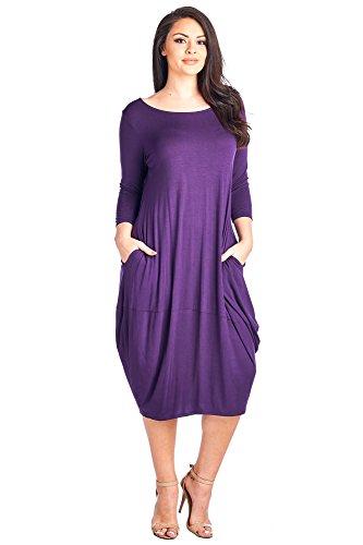 12 Ami Plus Size Solid 3/4 Sleeve Bubble Hem Pocket Midi Dress - Made in USA