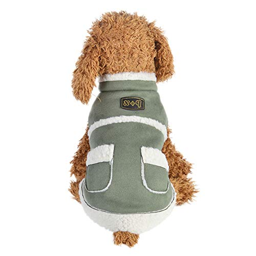 Suede Dog Coat Faux (Tutuba Pet Dog Faux Suede Coat British Style Fleece Lined Cold Weather Jacket Small Medium Dogs)