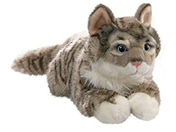 Cat Lying Grey Tabby, 14 inches, 35cm, Plush Toy, Soft Toy, Stuffed Animal 1614002